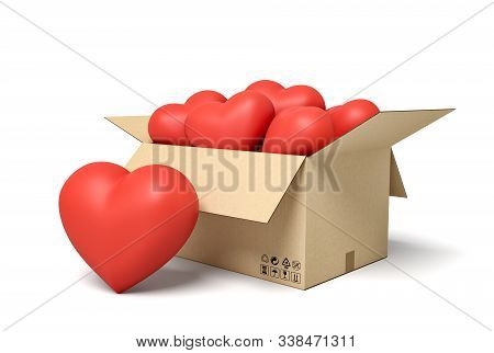 3d Rendering Of Cardboard Box Full Of Cute Red Hearts.