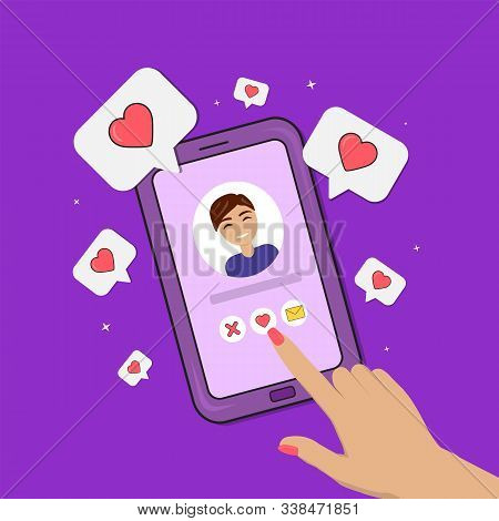 Dating Smartphone App Concept. Valentines Day Holiday. Flat Style Smartphone With Boy, Hand And Hear