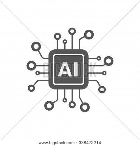 Ai Processor Vector Icon For Websites And Mobile Minimalistic Flat Design. Mini Ai Cpu Icon In Flat