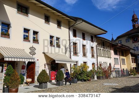 Fribourg,switzerland-october 23,2019:the Village In Gruyeres Castle On The Top Hill Is The Most View