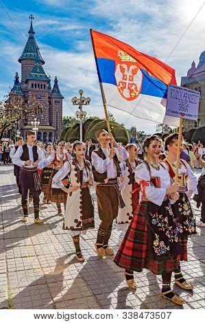 Timisoara, Romania - September 22, 2019: The Parade Of The Serbian Folk Costumes From Banat Region W