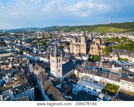 Trier Aerial Panoramic View. Trier Is A City On The Banks Of The Moselle River In Germany