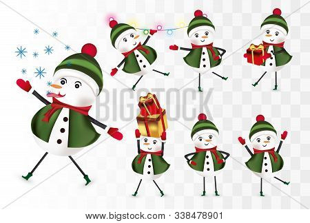 Collection Cheerful Snowmans. Christmas Characters. Snowman With Gift Present. Snowman Wearing Hat,