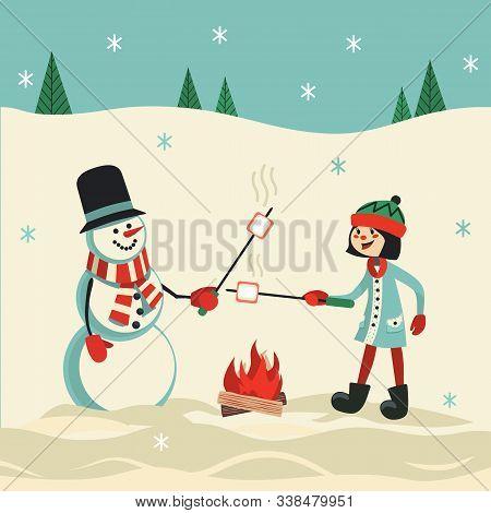 Marshmallow Roasting On Campfire Flat Color Vector Poster. Cute Girl, Snowman Roast Marshmallows On