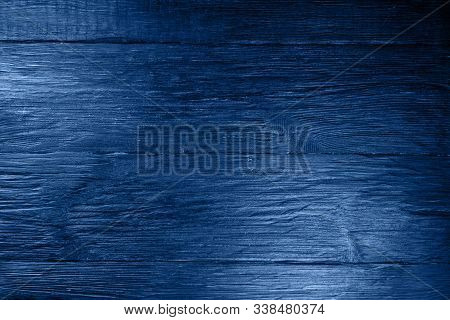 Wooden Structural Background In A Color Classic Blue. Color Of The Year 2020.