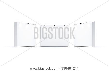 Blank White Trade Show Wall Mockup, Front And Side View, 3d Rendering. Empty Exhibition Placard In M
