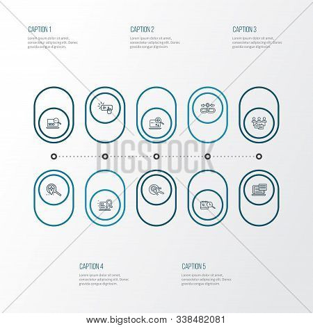 Optimization Icons Line Style Set With Subscribe, Keyword Research, Audience Engagement And Other Se