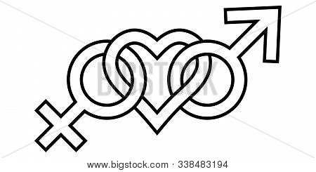 Sign Symbol Of Love For Man And Woman Gender Icons Connected Heart, Vector Lgbt Prime Sign Symbol Of