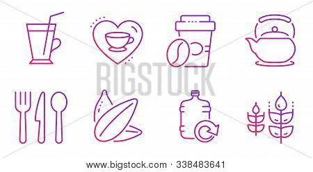 Refill Water, Food And Love Coffee Line Icons Set. Takeaway Coffee, Sunflower Seed And Teapot Signs.