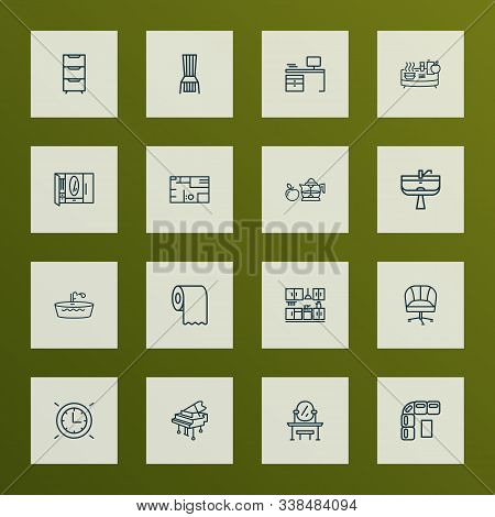 House Icons Line Style Set With Dining Chair, Kitchen Set, Toilet Paper And Other Ergonomic Chair El