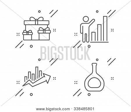 Growth Chart, Graph Chart And Surprise Boxes Line Icons Set. Cognac Bottle Sign. Sale Diagram, Growt