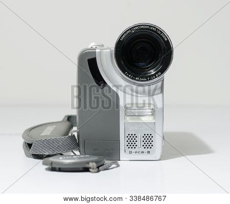 London, England, 05/05/2019 A Samsung Mini Dv Digital Camcorder Dig Cam Recorder. Samsung Vp-d93 Min