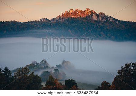 Sulov Rocks In Autumn Mist, Beautiful Nature Scenery, Slovakia.