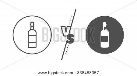 Whiskey Or Scotch Alcohol Sign. Versus Concept. Brandy Bottle Line Icon. Line Vs Classic Brandy Bott