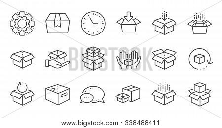 Box Line Icons. Package, Delivery Boxes, Cargo Box. Cargo Distribution, Export Boxes, Return Parcel