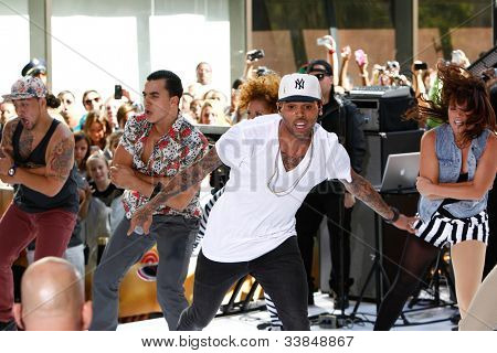 NEW YORK-JUNE 8: Singer Chris Brown performs on the Today Show concert series at Rockefeller Plaza on June 8, 2012 in New York City.