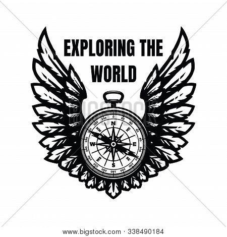 Exploring The World. Compass And Wings, Sign, Symbol. Vector Illustration.