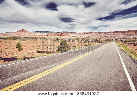 Scenic Desert Road In Capitol Reef National Park, Vintage Color Toning Applied, Utah, Usa.