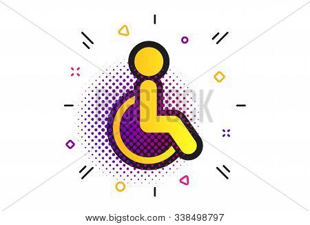 Disabled Sign Icon. Halftone Dots Pattern. Human On Wheelchair Symbol. Handicapped Invalid Sign. Cla