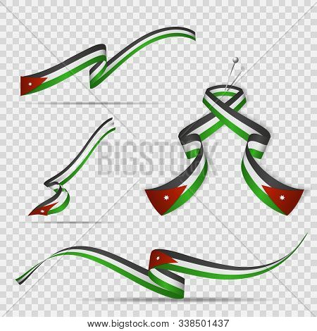 Flag Of Jordan. 25th Of May. Set Of Realistic Wavy Ribbons In Colors Of Jordanian Flag On Transparen