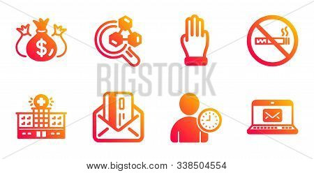 Credit Card, Three Fingers And Hospital Building Line Icons Set. No Smoking, Chemistry Lab And Check