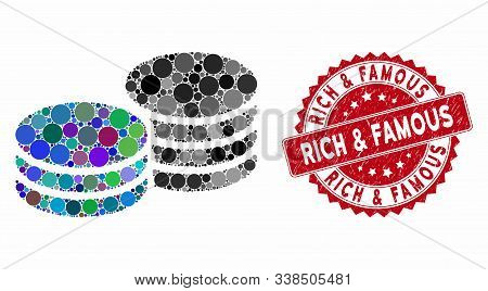 Mosaic Coins And Distressed Stamp Seal With Rich And Famous Caption. Mosaic Vector Is Formed From Co