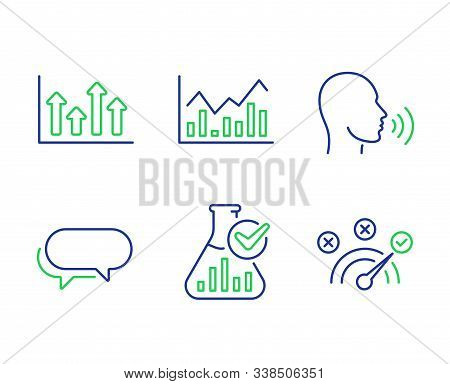 Upper Arrows, Infochart And Messenger Line Icons Set. Human Sing, Chemistry Lab And Correct Answer S