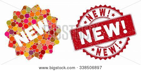 Mosaic New Tag And Rubber Stamp Seal With New Exclamation Caption. Mosaic Vector Is Designed With Ne