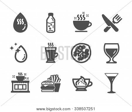Set Of Food And Drink Icons, Such As Espresso Cream, Food, Water Drop, Coffee Cup, Hot Water, Wine G