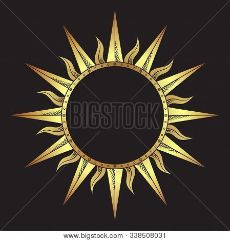 Ornate Antique Gold Etching Style Frame In A Shape Of Sun Rays Hand Drawn Vector Illustration