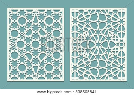Die And Laser Cut Ornamental Panels With Arabic Geometric Ornament. Laser Cutting Decorative Lace Bo