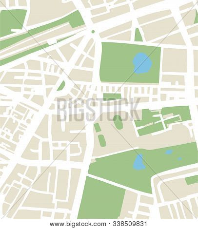 Abstract City Map Vector Illustration With Streets, Parks, And Ponds