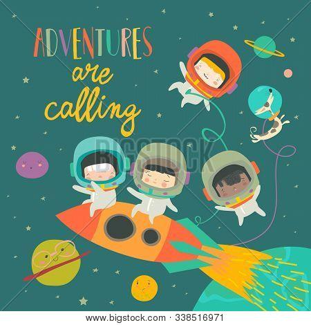 Girls Ans Boys Astronauts Riding A Rocket