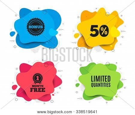 Limited Quantities Symbol. Liquid Shape, Various Colors. Special Offer Sign. Sale. Geometric Vector