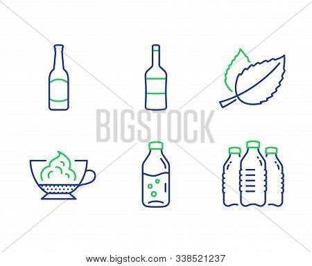 Espresso Cream, Wine And Mint Leaves Line Icons Set. Beer, Water Bottle And Water Bottles Signs. Caf