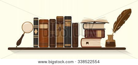 Bookshelf With Old Or Historical Brown Books, Inkwell With Goose Feather And Magnifier. Vector Illus