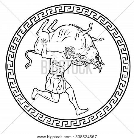 Erymanthian Boar. 12 Labours Of Hercules Heracles. Myths Of Ancient Greece Illustration