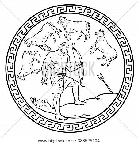 Obtain The Cattle Of The Monster Geryon. 12 Labours Of Hercules Heracles. Myths Of Ancient Greece Il