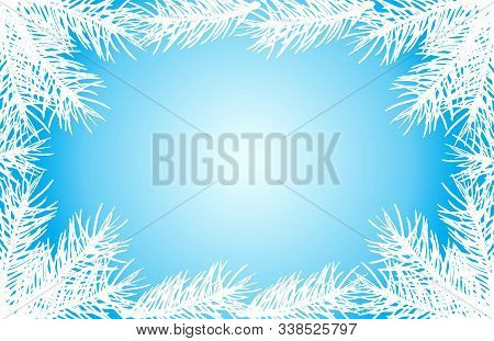 Christmas Frame Of Silhouettes Of Fir Tree Branches. Vector Illustration. Applied Clipping Mask.