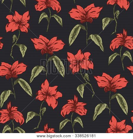 Dark Elegant Seamless Pattern With Red Sketch Flowers With Green Leaves. Hand Drawn Illustration Of