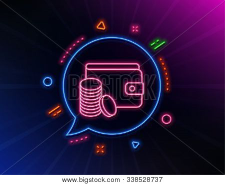 Wallet With Coins Line Icon. Neon Laser Lights. Cash Money Sign. Payment Method Symbol. Glow Laser S