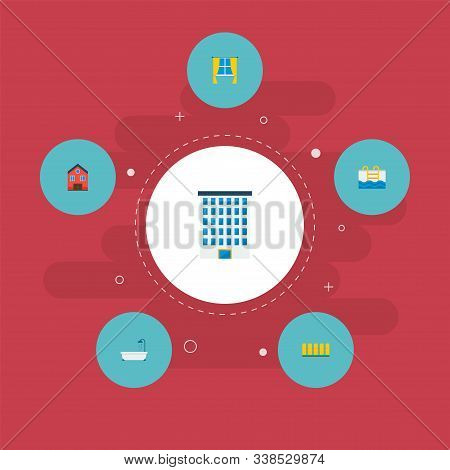 Set Of Realestate Icons Flat Style Symbols With Window, Pool, Fence And Other Icons For Your Web Mob
