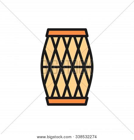 Indian Musical Drum, Mridangam, Dholak Flat Color Line Icon.