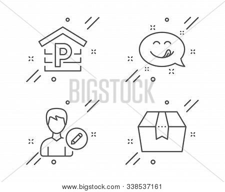 Yummy Smile, Edit Person And Parking Line Icons Set. Package Box Sign. Emoticon, Change User Info, G