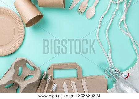 Sustainable Eco Friendly Concept. Kitchenware On A Teal Background.