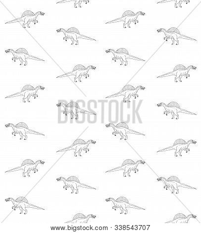 Vector Seamless Pattern Of Hand Drawn Sketch Doodle Spinosaurus Dinosaur Isolated On White Backgroun