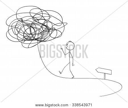Vector Cartoon Stick Figure Drawing Conceptual Illustration Of Man Or Businessman Walking On The Pat
