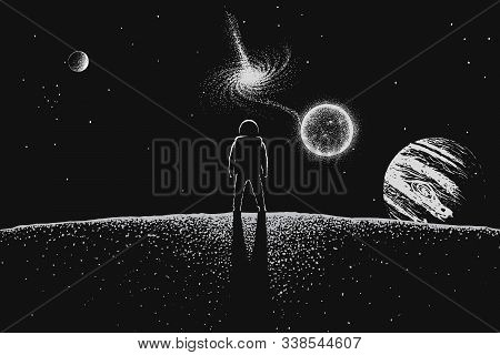 Astronaut Explore The Universe. Spaceman Watching To Quasar From Planet. Handcrafted Style. Vector I