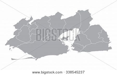 Greater Rio De Janeiro Gray Silhouette Map Isolated On White Background, Brazil