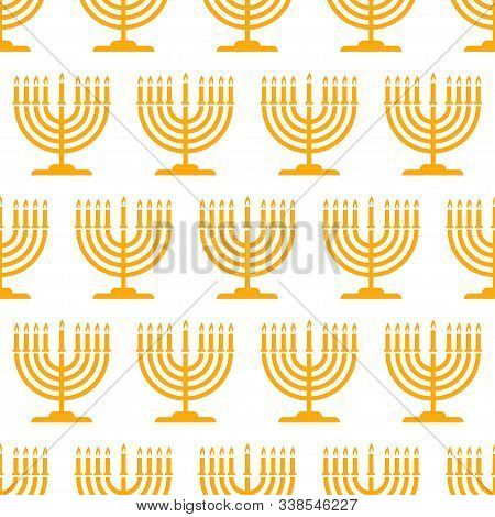 Hanukkah Seamless Pattern. Background With Hanukkah Candles. Vector Illustration For Jewish Holiday